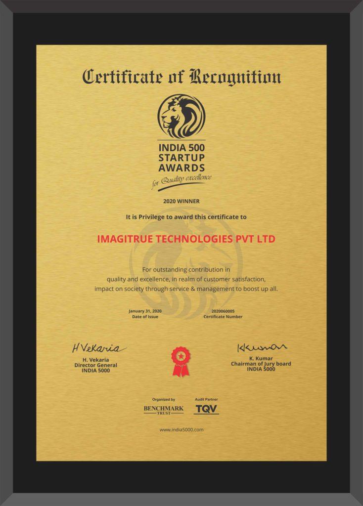 Winner of India 500 Startup Awards, 2020